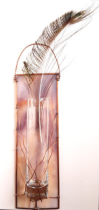 Variegated Pink Glass Bud Vase