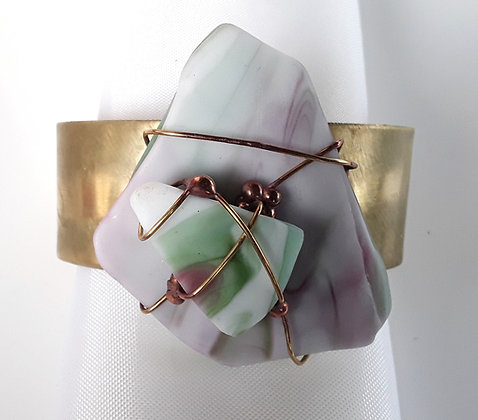 Brass Cuff Bracelet with Pink/Green Tumbled Glass