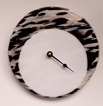 Fused Black and White Glass Tide Clock