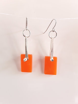 Opaque Fused Orange Glass Earrings
