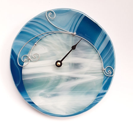 Fused Turquiose and White Glass Tide Clock