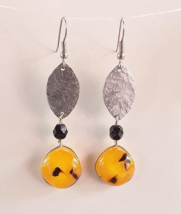 Fused Orange and Black Glass Earrings
