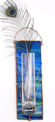 Variegated Opaque Blue/Green Hanging Wall Vase