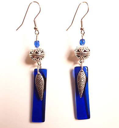 Transparent Blue Glass Earrings