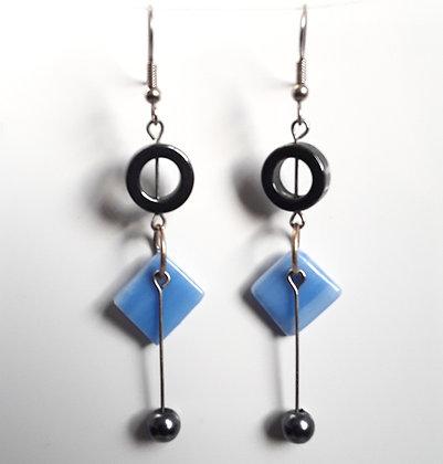 Opaque Blue Glass Earrings