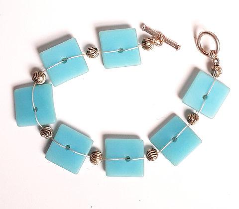 Turquoise Woven Glass Bracelet
