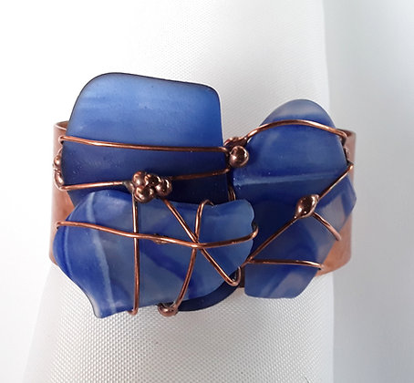 Copper Cuff Bracelet with Blue Tumbled Glass