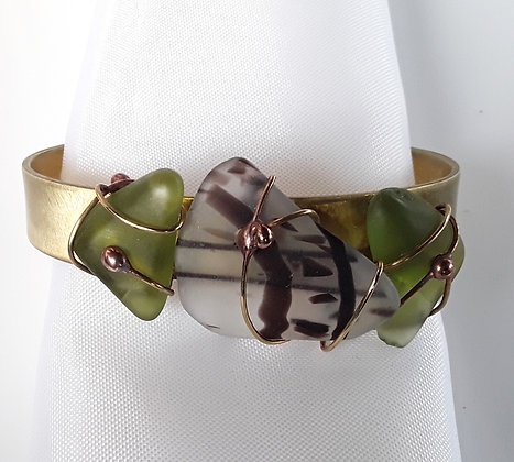Copper Cuff Bracelet with Olive Green/Black TumbledGlass