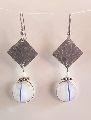Opaque Fused White Glass Earrings