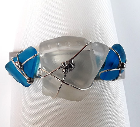 Pewter Cuff Bracelet with Turquoise/Clear Tumbled Glass