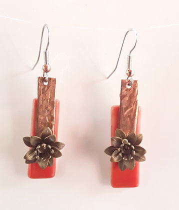 Opaque Orange Fused Glass Earrings