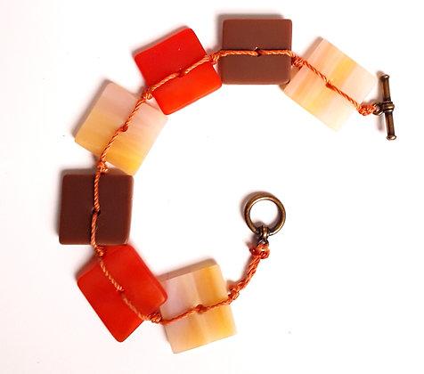 Orange/Gold Woven Glass Bracelet