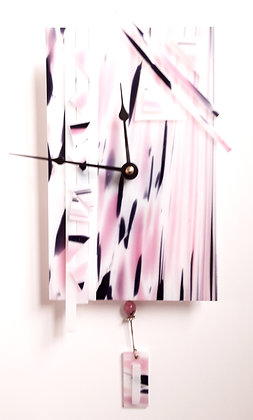 Pink/Purple/White Glass Clock