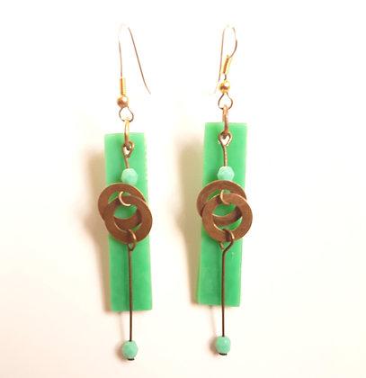 Opaque Green Glass Earrings