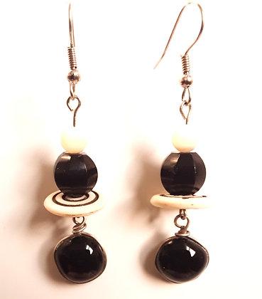Black Fused Glass Earrings
