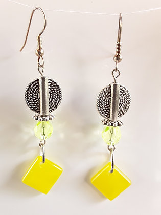 Yellow Fused Glass Earrings