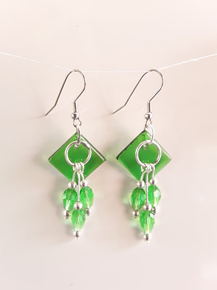 Opaque Fused Green Glass Earrings