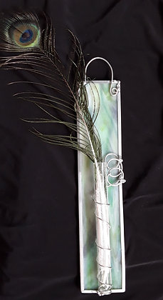 Variegated Opaque Green Hanging Wall Vase