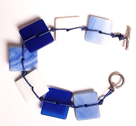 Blue/White Woven Glass Bracelet