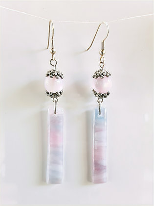 Opaque Fused Pink Glass Earrings