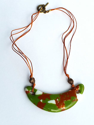 Fused Green Multi-Colored Glass Necklace