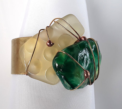 Brass Cuff Bracelet with Green/Gold Tumbled Glass