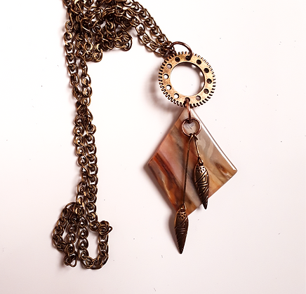 Rust/Gold Pendant with Brass Chain