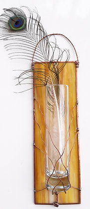 Opaque Gold Glass Wall Bud Vase