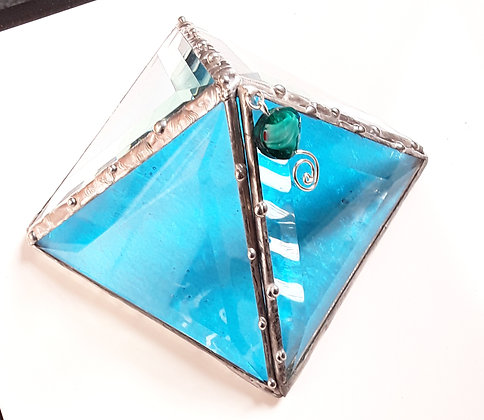Turquoise Glass Pyramid Box