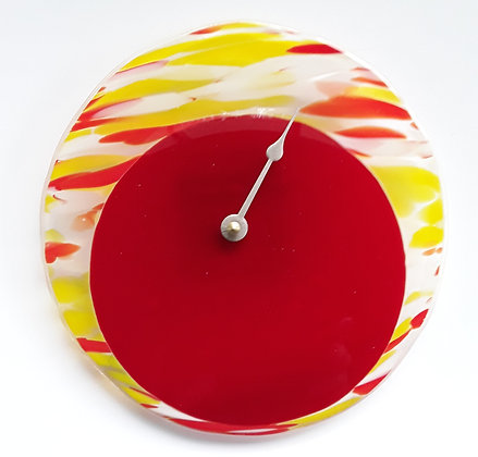 Fused Red and Yellow Glass Tide Clock