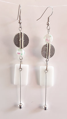 Opaque White Fused Glass Earrings