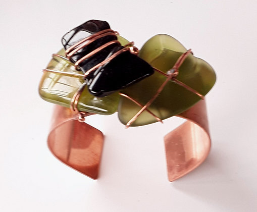 Copper Cuff Bracelet with Olive Green and Black Glass