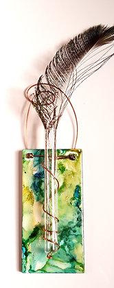 Alcohol Ink Tile Wall Bud Vase