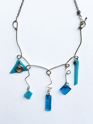Silver Necklace with Turquoise Fused Glass