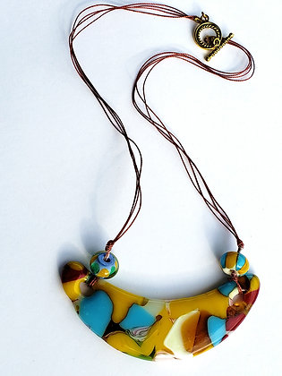 Fused Gold Multi-Colored Necklace