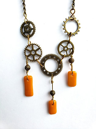 Steampuck Style Necklace with Orange Fused Glass