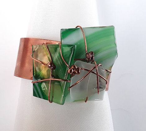 Copper Cuff Bracelet with Green/White Fused Glass