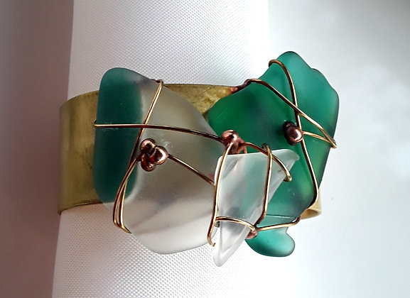 Brass Cuff Bracelet with Teal and Clear Glass