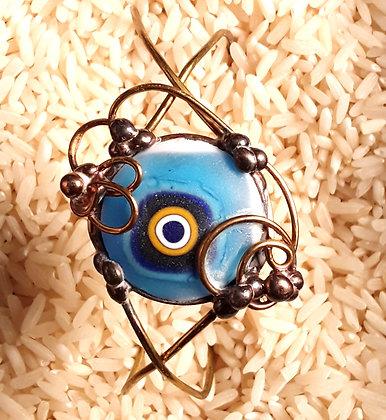 Turquoise Glass Wire Wrap Bracelet