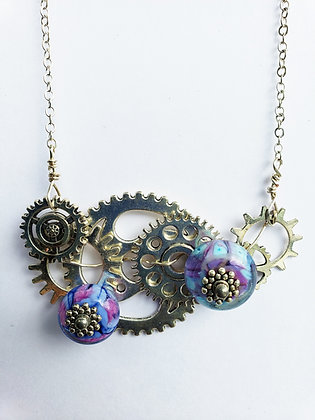 Steampuck Style Necklace with Handmade Beads