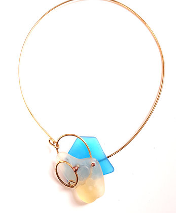 Turquoise/Gold Glass Necklace