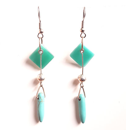 Opaque Turquoise Glass Earrings