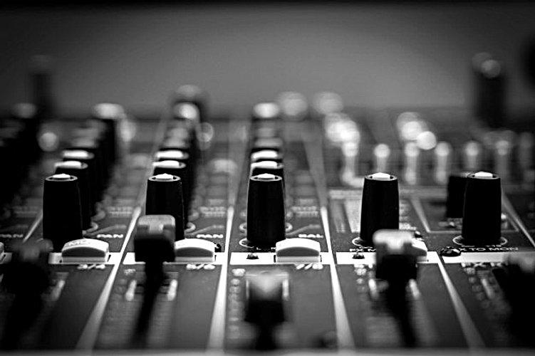 closeup-some-part-of-audio-mixer-vintage