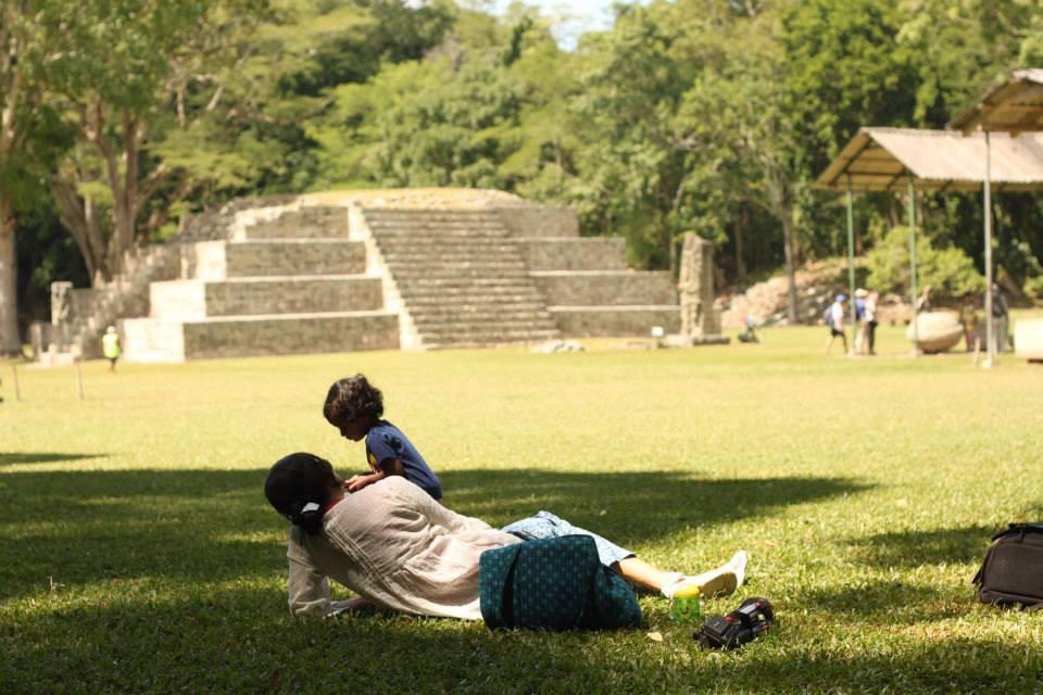 Mother and Daughter at the Mayan Ruins in Honduras
