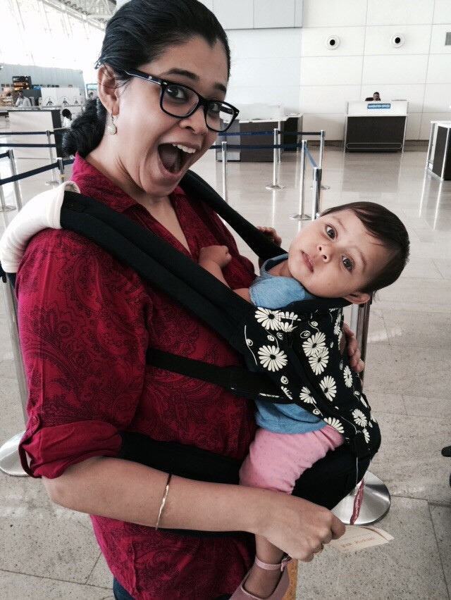 Author Saraswati Datar with her daughter at the airport