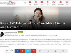 World Of Moms Feature : 3 Pieces of Well-Intended Baby Care Advice I Regret Having Listened To