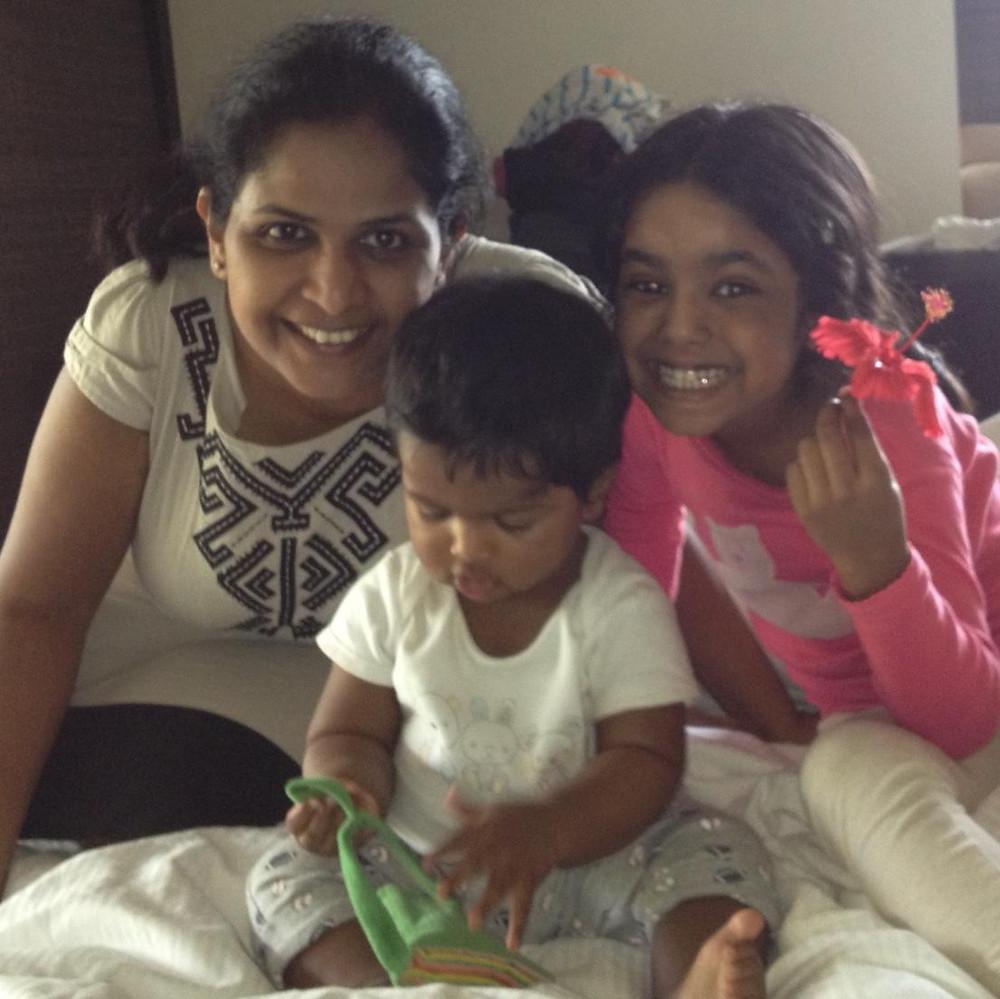 Nidhi with her children.