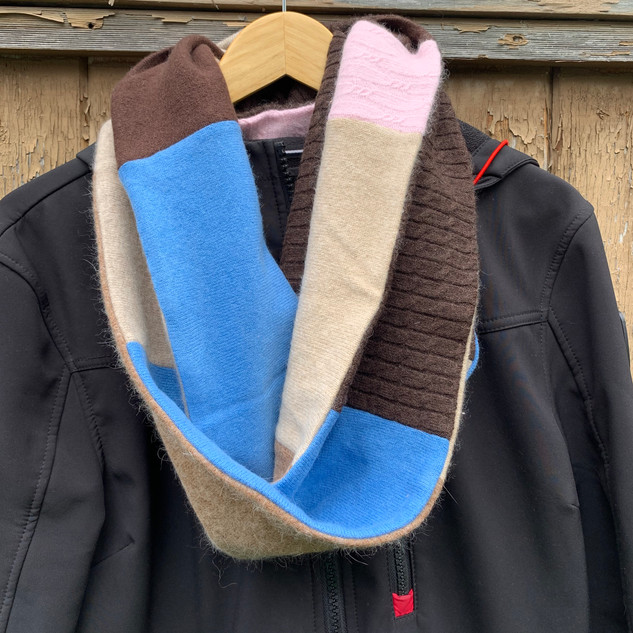 Brown and blue infiniti scarf