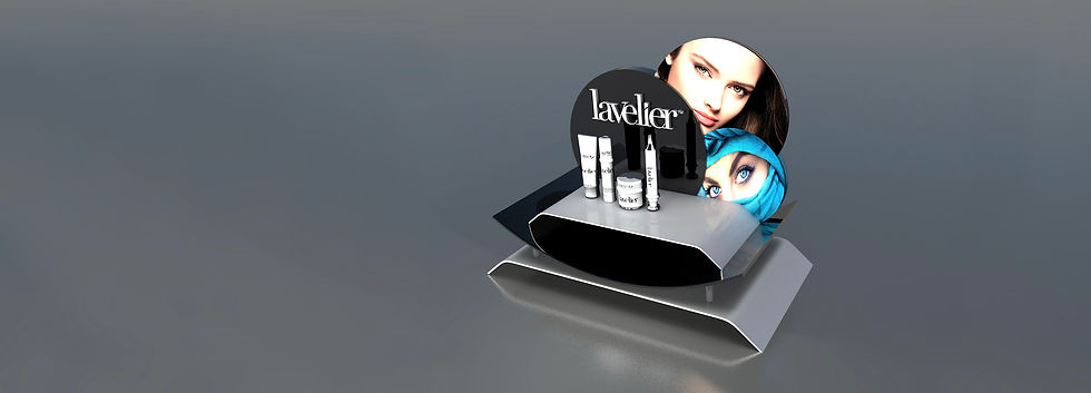 lavelier cosmetic display stand renderin