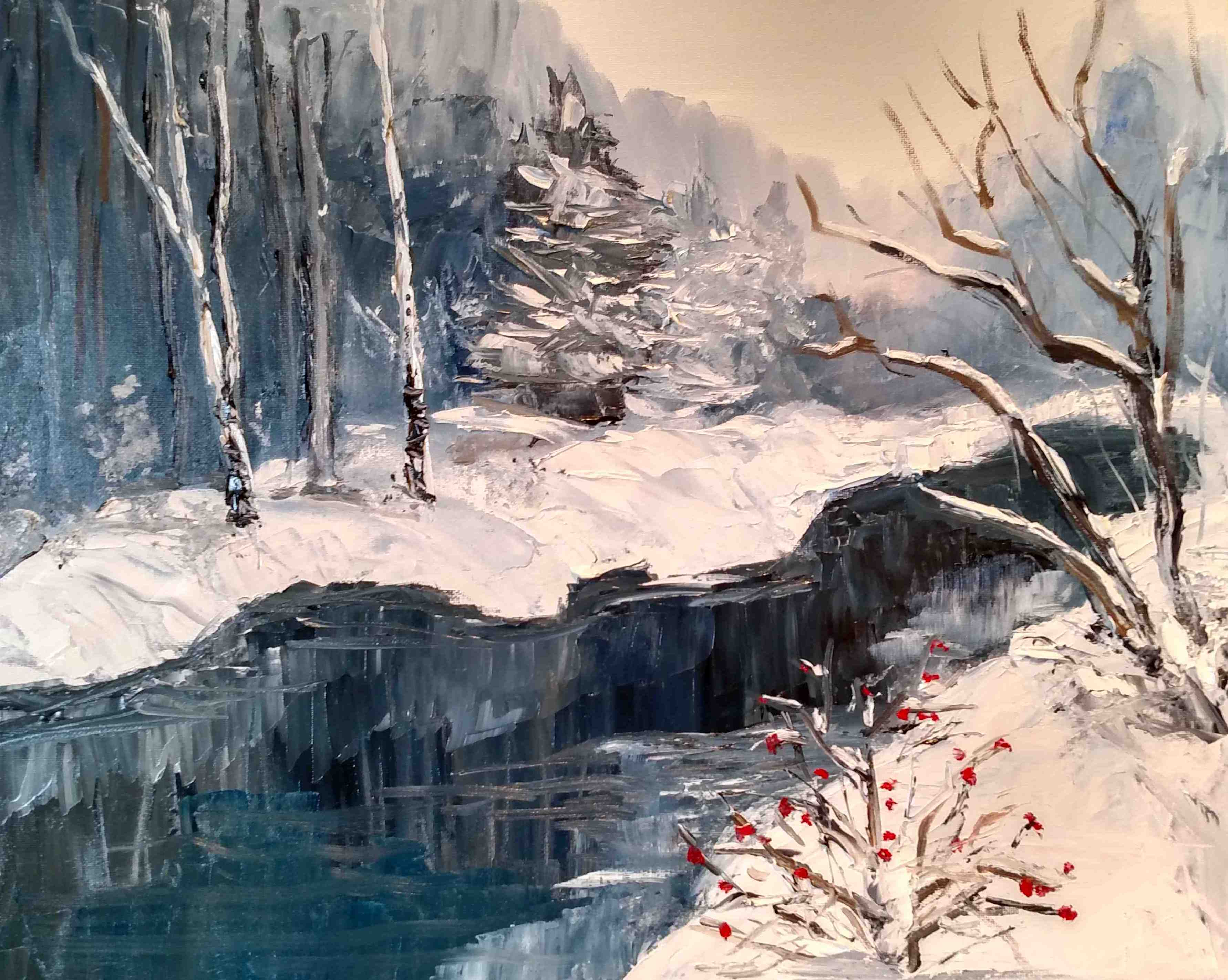 Red berries in the snow 16 x 20 Oil on s